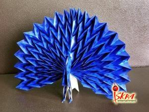 Оригами схема по сборке павлина.
