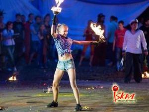 Огненное шоу. Выступление детей